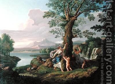River Landscape with a Nymph Plucking a Branch from a Bleeding Tree by Andrea Locatelli - Reproduction Oil Painting