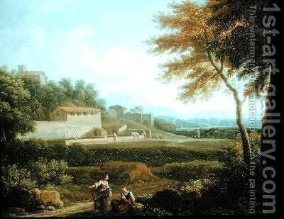 Landscape with Figures at Rest with a Town Beyond by Andrea Locatelli - Reproduction Oil Painting