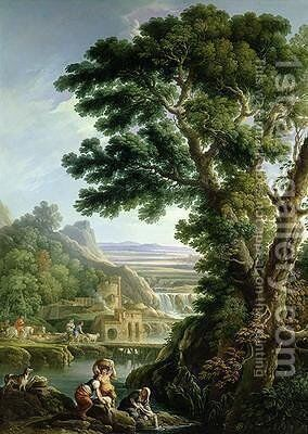 A Landscape in Latium with Washerwomen by Andrea Locatelli - Reproduction Oil Painting