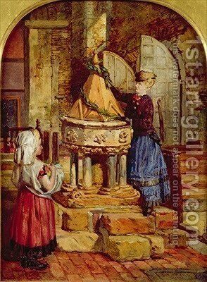 Decorating the Old Font 1871 by James Lobley - Reproduction Oil Painting