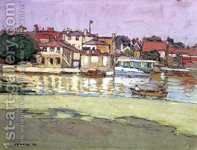Kingston Boathouses by Horace Mann Livens - Reproduction Oil Painting