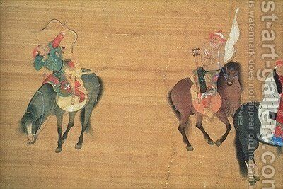 Kublai Khan 1214-94 Hunting by (attr. to) Liu Kuan-tao - Reproduction Oil Painting