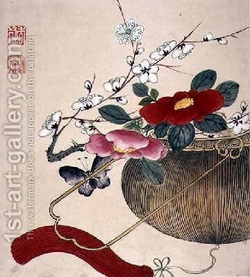 One of a series of paintings of flowers and insects 2 by Hua Liu - Reproduction Oil Painting