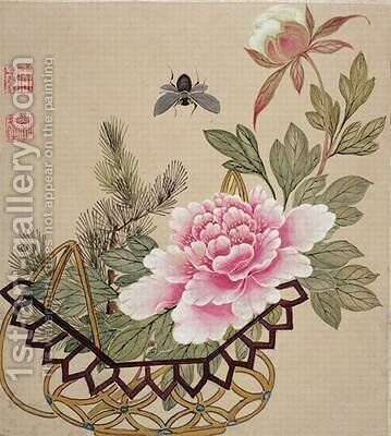 One of a series of paintings of flowers and insects 3 by Hua Liu - Reproduction Oil Painting