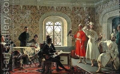 The Italian Ambassador Calvuci drawing the falcons of Tsar Alexei Mikhailovich 1629-76 by Alexander Dimitrievitch Litovtchenko - Reproduction Oil Painting