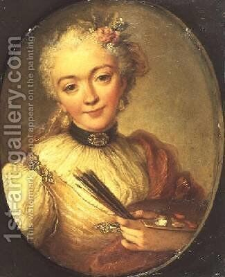 Self Portrait Painting by Anna Dorothea (Therbusch) Lisiewska - Reproduction Oil Painting