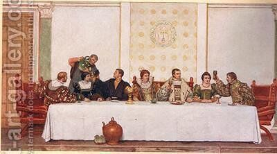 The Wedding Feast by James Dromgole Linton - Reproduction Oil Painting