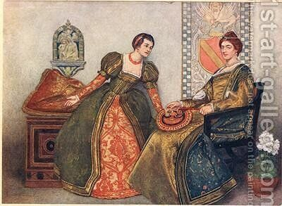 Portia and Nerissa by James Dromgole Linton - Reproduction Oil Painting