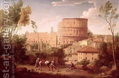 A View of the Colosseum with a Traveller 1731 by Hendrik Frans Van Lint - Reproduction Oil Painting