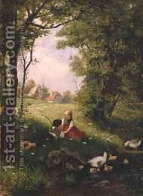 The First Flirtation by Adolf Lins - Reproduction Oil Painting