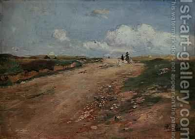 Rural Path in Schwalm with a girl and geese by Adolf Lins - Reproduction Oil Painting