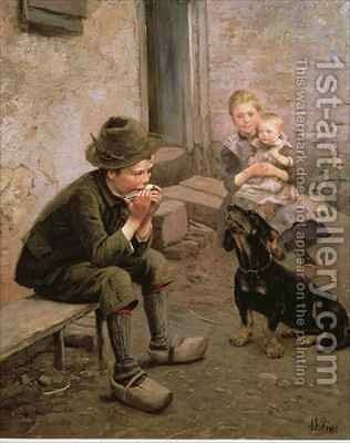 The Mouth Organ Player by Adolf Lins - Reproduction Oil Painting