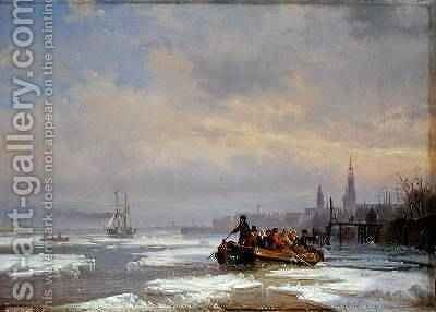 Ship in Ice 1854 by Egidius Linnig - Reproduction Oil Painting