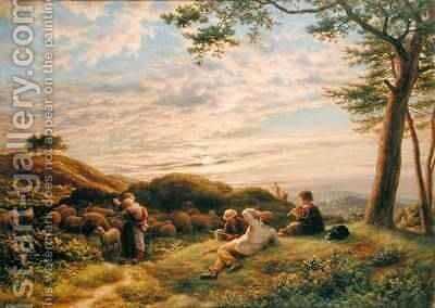 Shepherd Boys tending their Flock at Sunset 1889 by James Thomas Linnell - Reproduction Oil Painting
