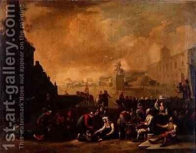 A Roman Forum with Figures by Johannes Lingelbach - Reproduction Oil Painting