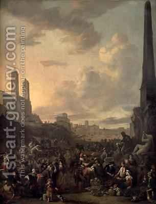 Capriccio View of Rome with a Market by Berninis Four Rivers Fountain, Santa Trinita dei Monti St Francesca Romana and the Arch of Titus beyond by Johannes Lingelbach - Reproduction Oil Painting