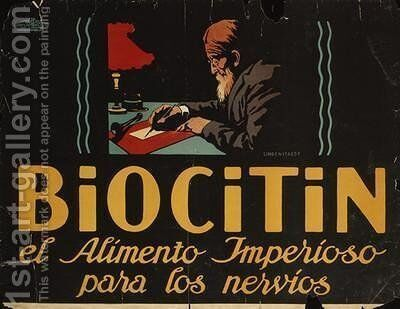 Spanish advertisement for Biocitin nerve medicine 1908 by Hans Lindenstaedt - Reproduction Oil Painting