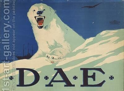 Promotion poster for the German Arctic expedition 1913 by Hans Lindenstaedt - Reproduction Oil Painting