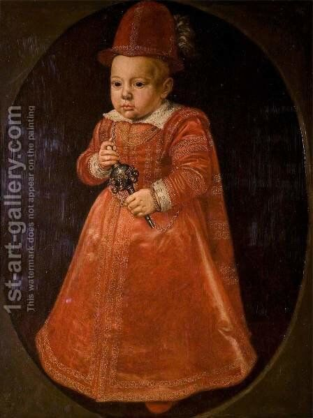 Portrait of a Child with a Rattle 1600 by Adriaen van der Linde - Reproduction Oil Painting