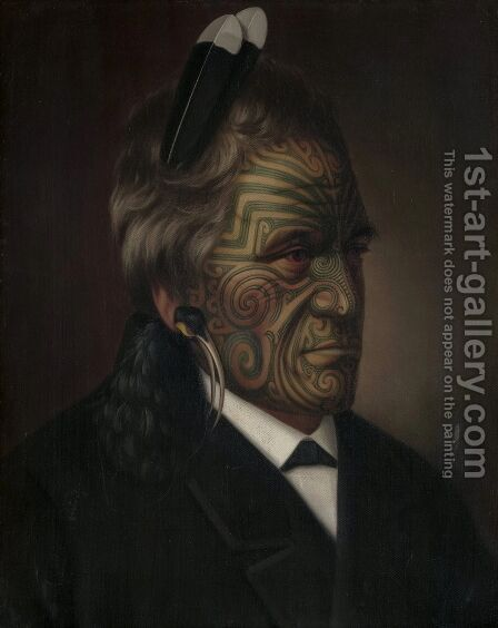 Tomika Te Mutu chief of the Ngaiterangi tribe Bay of Plenty New Zealand by Gottfried Lindauer - Reproduction Oil Painting