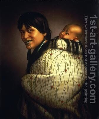 Ana Rupene and child 1880 by Gottfried Lindauer - Reproduction Oil Painting