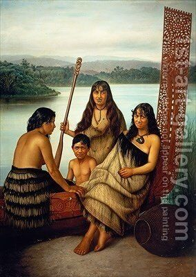 Three Maori girls and a boy sitting on a large carved Maori canoe by a lake 1899 by Gottfried Lindauer - Reproduction Oil Painting