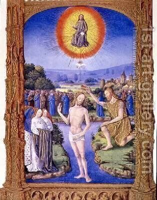 St John the Baptist baptising Christ by Pol de Limbourg - Reproduction Oil Painting