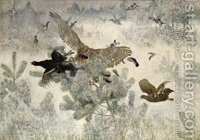 Hawk and Black Game 1884 by Bruno Andreas Liljefors - Reproduction Oil Painting
