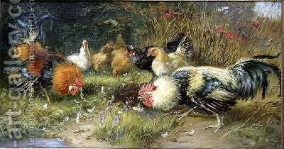 Poultry in a landscape by Bruno Andreas Liljefors - Reproduction Oil Painting