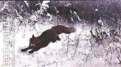 Fox Being Chased through the Snow by Bruno Andreas Liljefors - Reproduction Oil Painting
