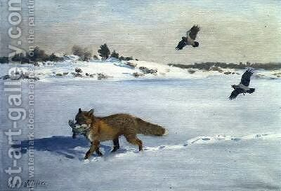 Fox in a Winter Landscape by Bruno Andreas Liljefors - Reproduction Oil Painting