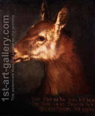 Head of a Roebuck 1742 by Heinrich Lihl - Reproduction Oil Painting