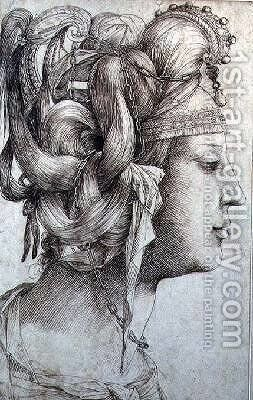 Woman with Elaborate Head-dress by Jacopo Ligozzi - Reproduction Oil Painting