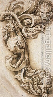 Grotesque Scroll by Jacopo Ligozzi - Reproduction Oil Painting