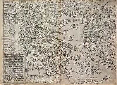 Map of the whole of Greece by (after) Ligorio, Piero - Reproduction Oil Painting