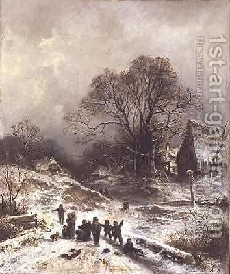 Children playing in the snow by Adolf Heinrich Lier - Reproduction Oil Painting