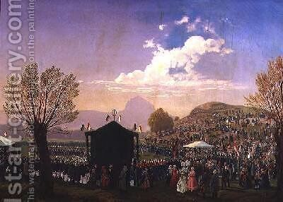 Ferdinand Joseph 8th Prince Lobkowicz and his Miners at a Religious Ceremony near Bilinia 1848 by A. Liehm - Reproduction Oil Painting