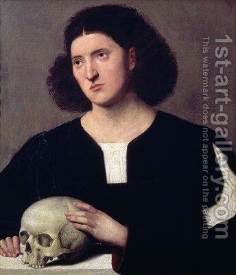 Portrait of a Young Man with a Skull by Bernardino Licinio - Reproduction Oil Painting