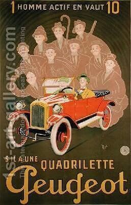 Advertisement for the Peugeot Quadrilette by Michel, called Mich Liebeaux - Reproduction Oil Painting