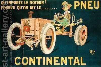 Advertisement for Continental Tyres by Michel, called Mich Liebeaux - Reproduction Oil Painting