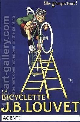 Itll climb anything advertisement for the JB Louvet bicycle by Michel, called Mich Liebeaux - Reproduction Oil Painting
