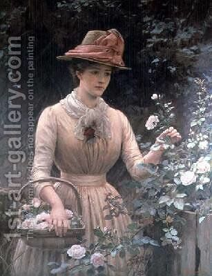 Picking Roses by Charles Sillem Lidderdale - Reproduction Oil Painting