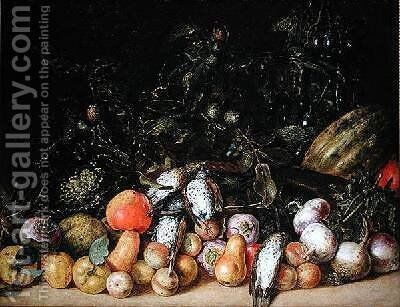Still Life with Fruit and Vegetables by Gottfried Libalt - Reproduction Oil Painting