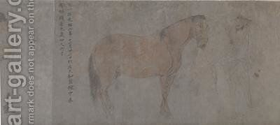Detail of Five Tribute Horses 3 by Gonglin Li - Reproduction Oil Painting