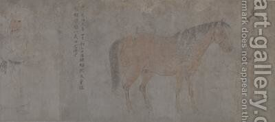 Detail of Five Tribute Horses 5 by Gonglin Li - Reproduction Oil Painting