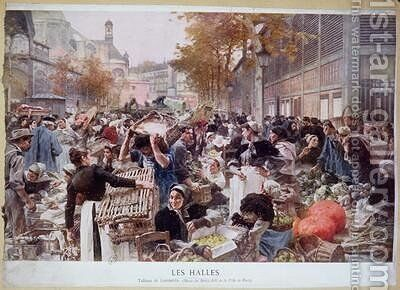 Les Halles 1893 by (after) Lhermitte, Leon - Reproduction Oil Painting