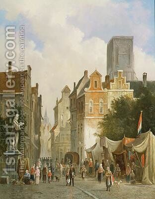 French Market Town by S.J. van der Ley - Reproduction Oil Painting