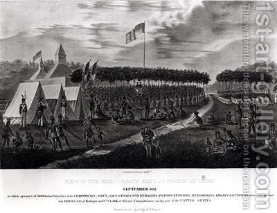 View of the Great Treaty Held at Prairie du Chien by James Otto Lewis - Reproduction Oil Painting