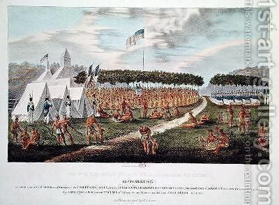 View of the Great Treaty Held at Prairie du Chien 2 by James Otto Lewis - Reproduction Oil Painting