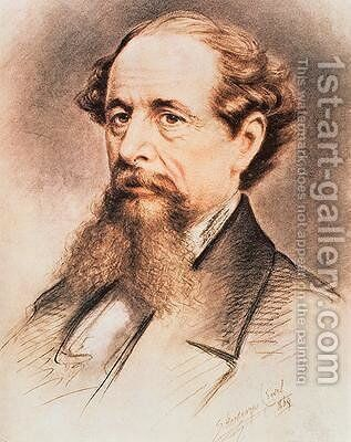 Portrait of Charles Dickens 1869 by E. Goodwyn Lewis - Reproduction Oil Painting